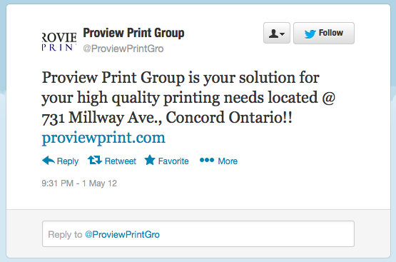 A Twitter update from Proview Print Group, one of the shell companies