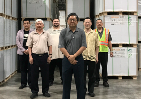 from left to right) are Logistics Specialists - Starr Wang; Victor Tan; Nick Fortunato; David Chin, APP Canada President; Roy Budidharma, Logistics Manage; and Gunaldy Chandra, Warehouse Manager.
