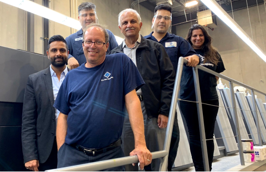 FRONT: Jeff Morrow, Plant Manager; BEHIND LEFT TO RIGHT Irfan Rajabali, Director of Business Development; Fawad Faeiz; Amin Rajabali, President; Reza Sohrabi, Shafreen Munjee, Director Sales & Strategy