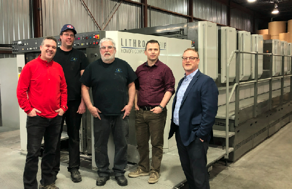 left to right: David Heon, Michel Larivee Feeder, Charles Boivert Pressman, Charles Heon and Brett Rogers from Komcan Inc.
