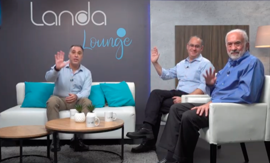 From Landa Digital, from left, Nick Clements, business planner, Arik Gordon, CEO, and Benny Landa, founder, during a virtual Q & A